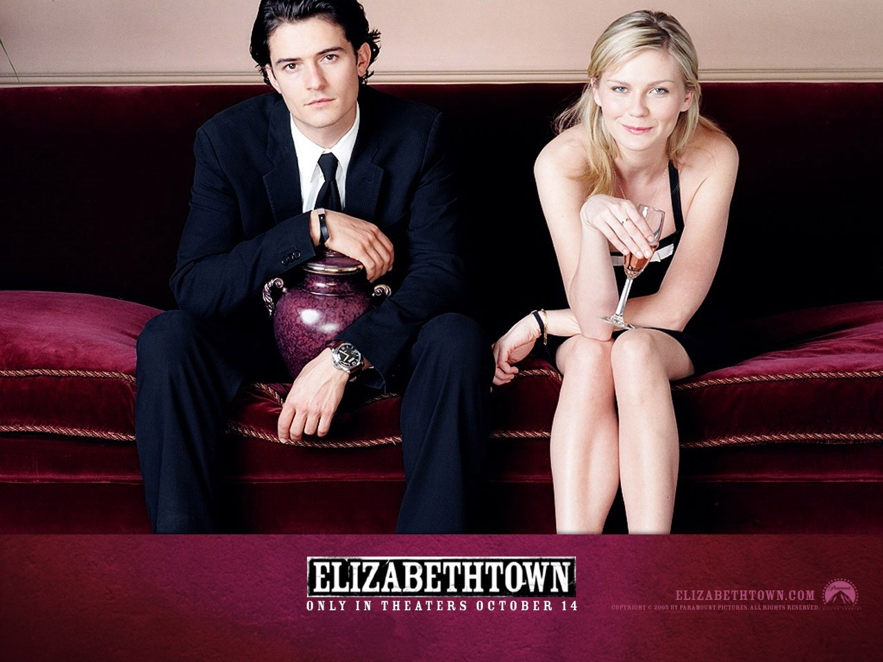Wallpaper del film Elizabethtown con Kirsten Dunst e Orlando Bloom