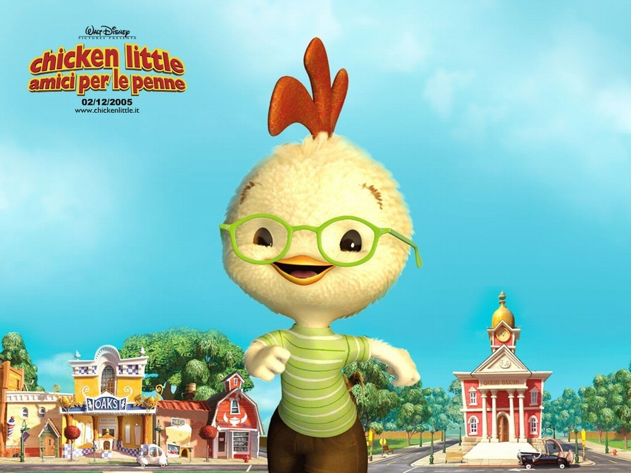 Wallpaper del film d'animazione Chicken Little - Amici per le penne, del 2005