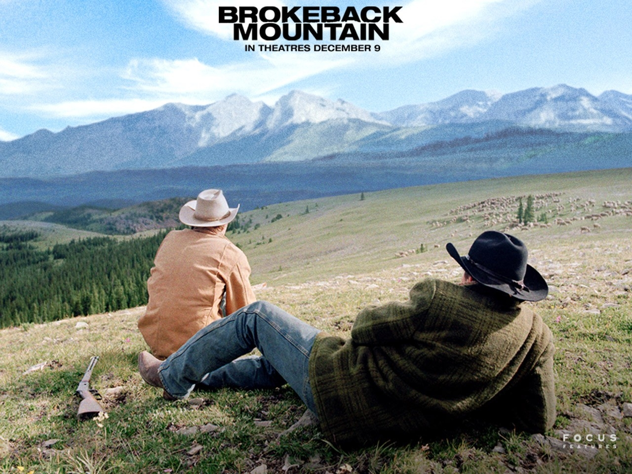 Wallpaper del film I segreti di Brokeback Mountain con Heath Ledger e Jake Gyllenhaal