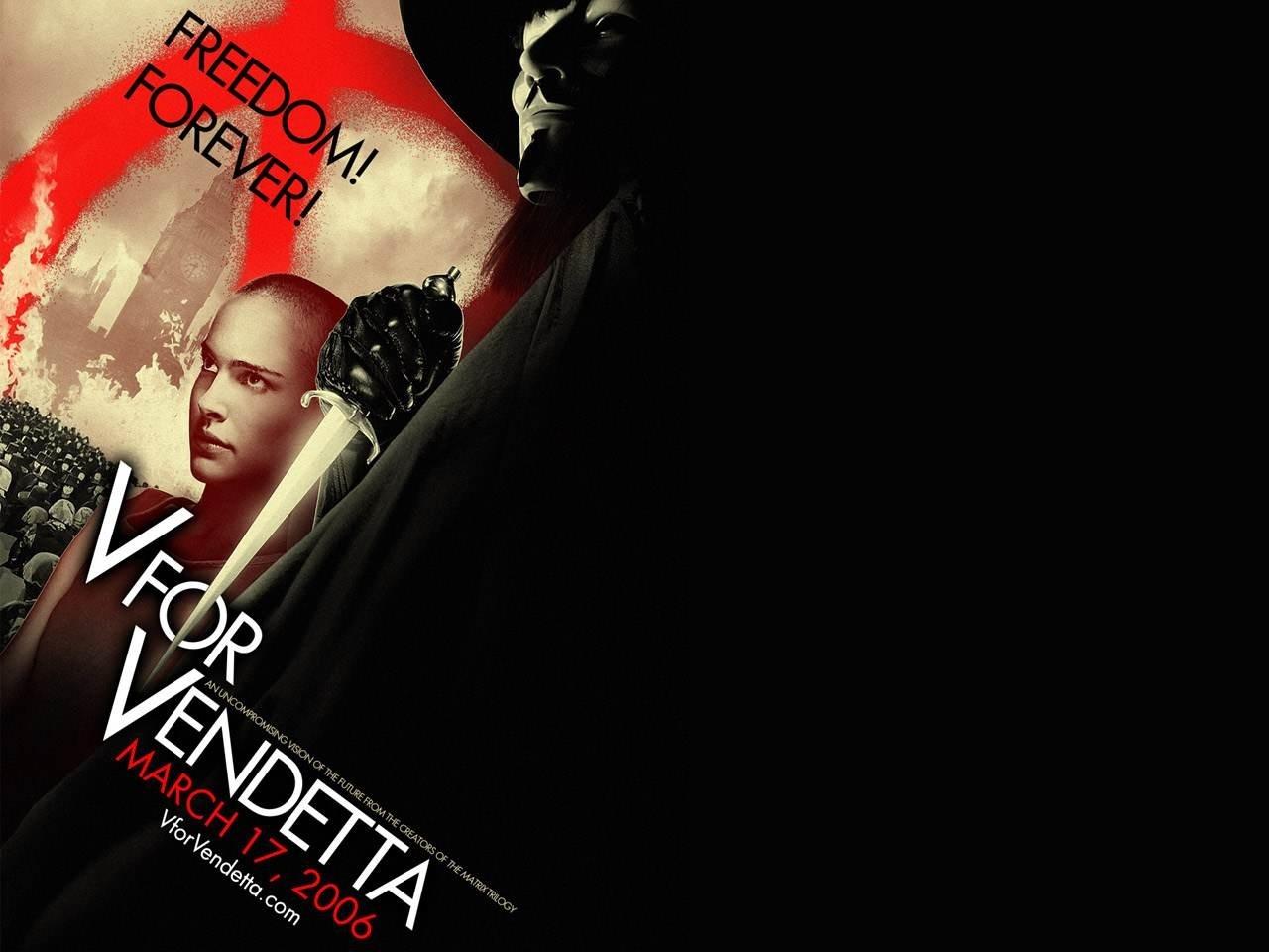 Wallpaper del film V per Vendetta con la Portman