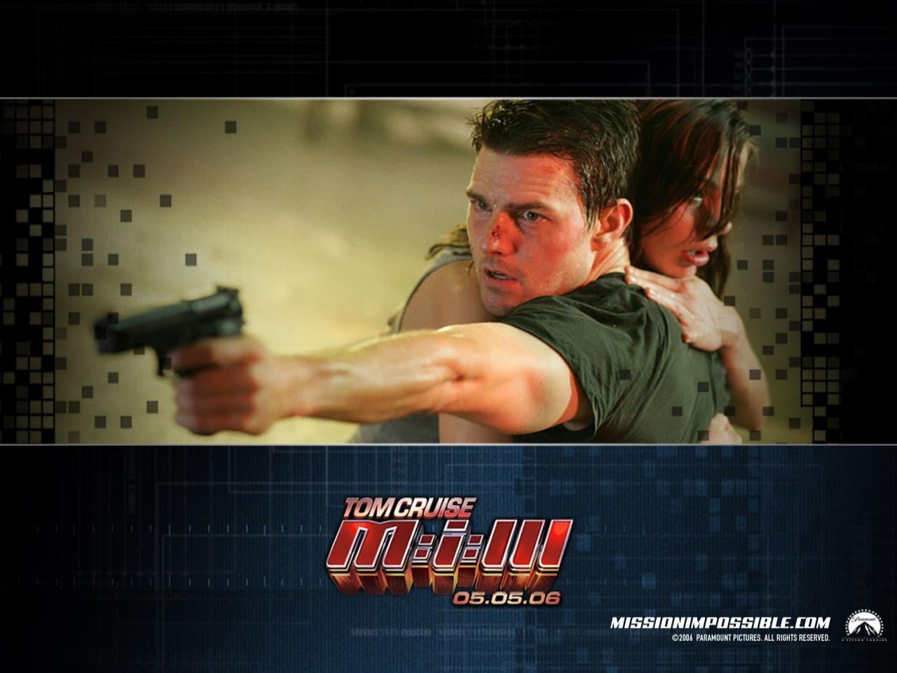 Tom Cruise in un wallpaper del film Mission: Impossible III