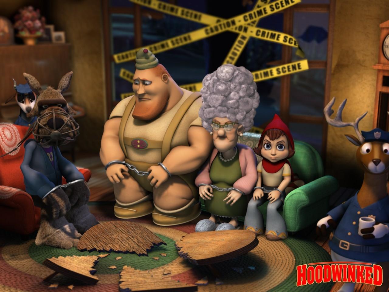 Wallpaper del film Cappuccetto rosso e gli insoliti sospetti con i protagonisti del film