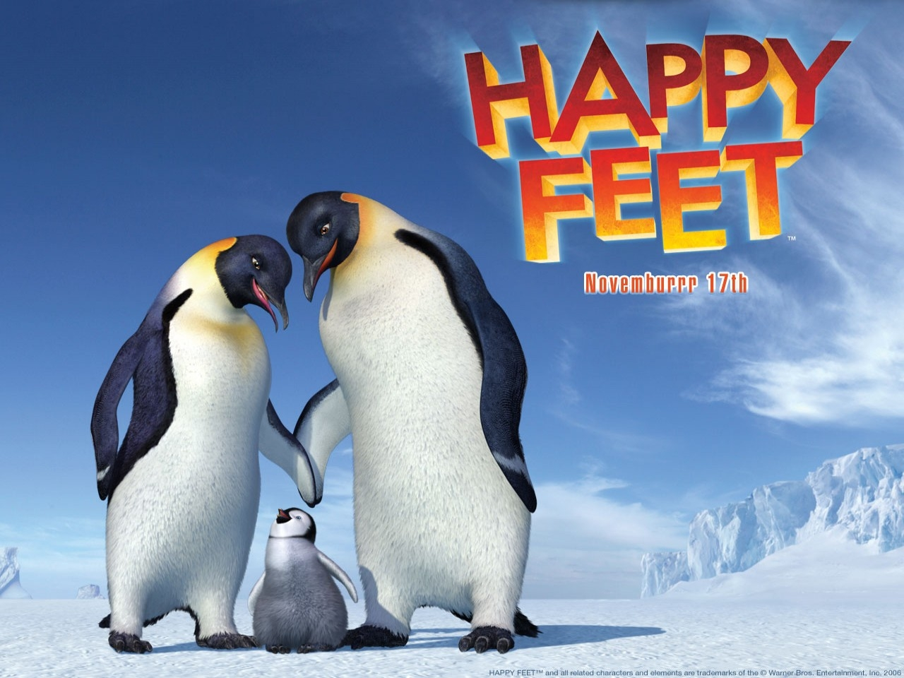 Wallpaper del film Happy Feet con i pinguini