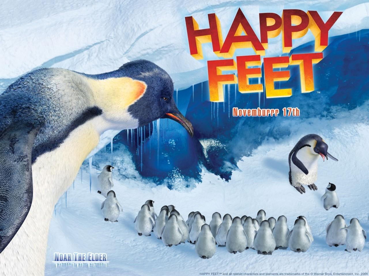 Wallpaper del film d'animazione Happy Feet diretto da George Miller nel 2007