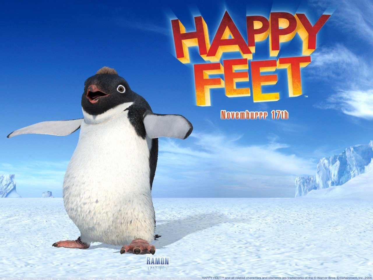 Wallpaper del cartoon Happy Feet diretto da George Miller nel 2007