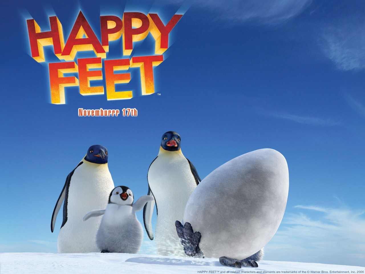 Wallpaper del film Happy Feet con i mitici pinguini
