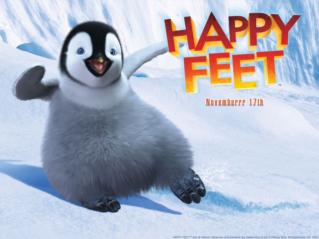 Wallpaper del film Happy Feet con un piccolo pinguino