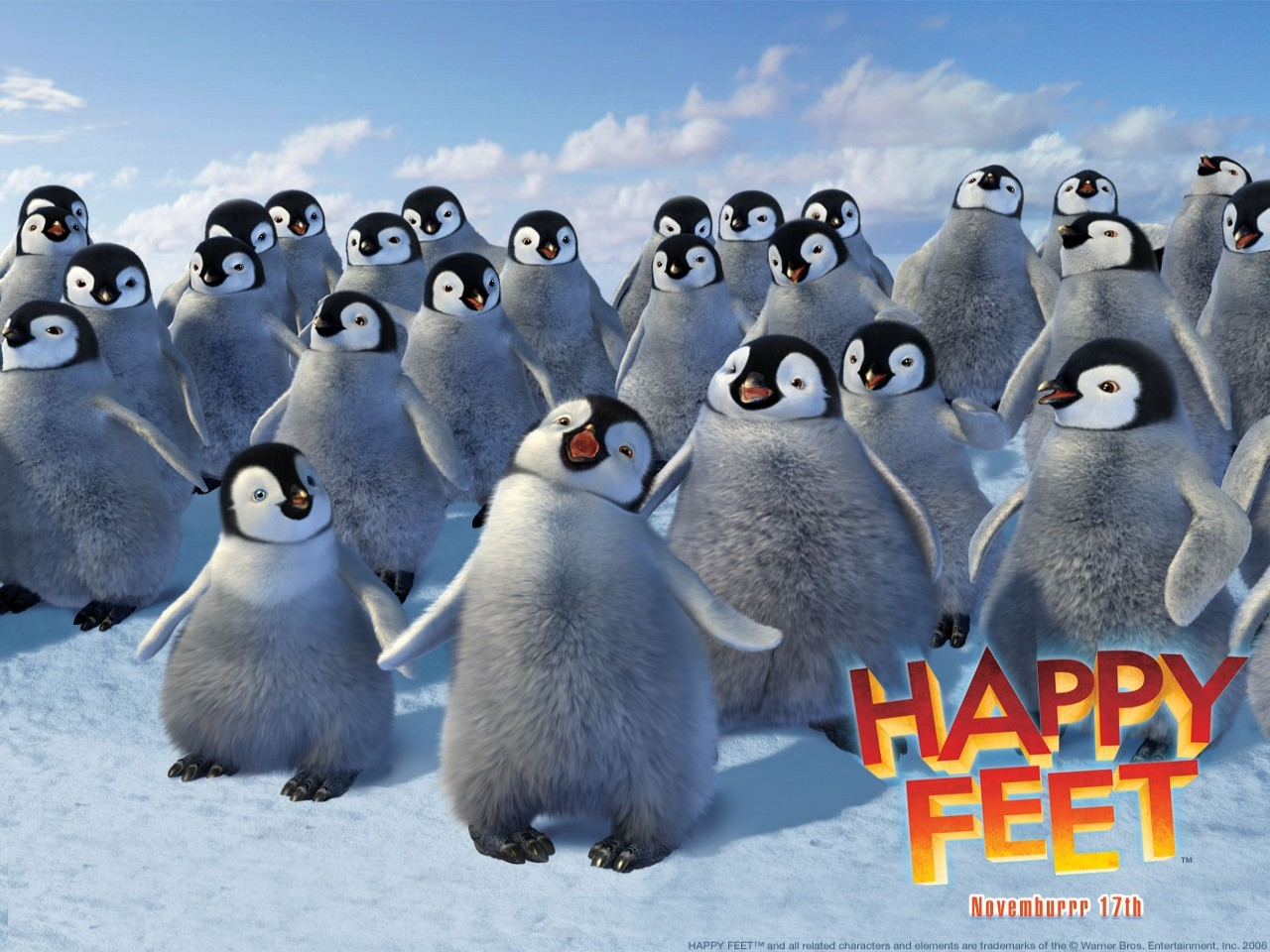 Wallpaper del film Happy Feet con un gruppo di pinguini