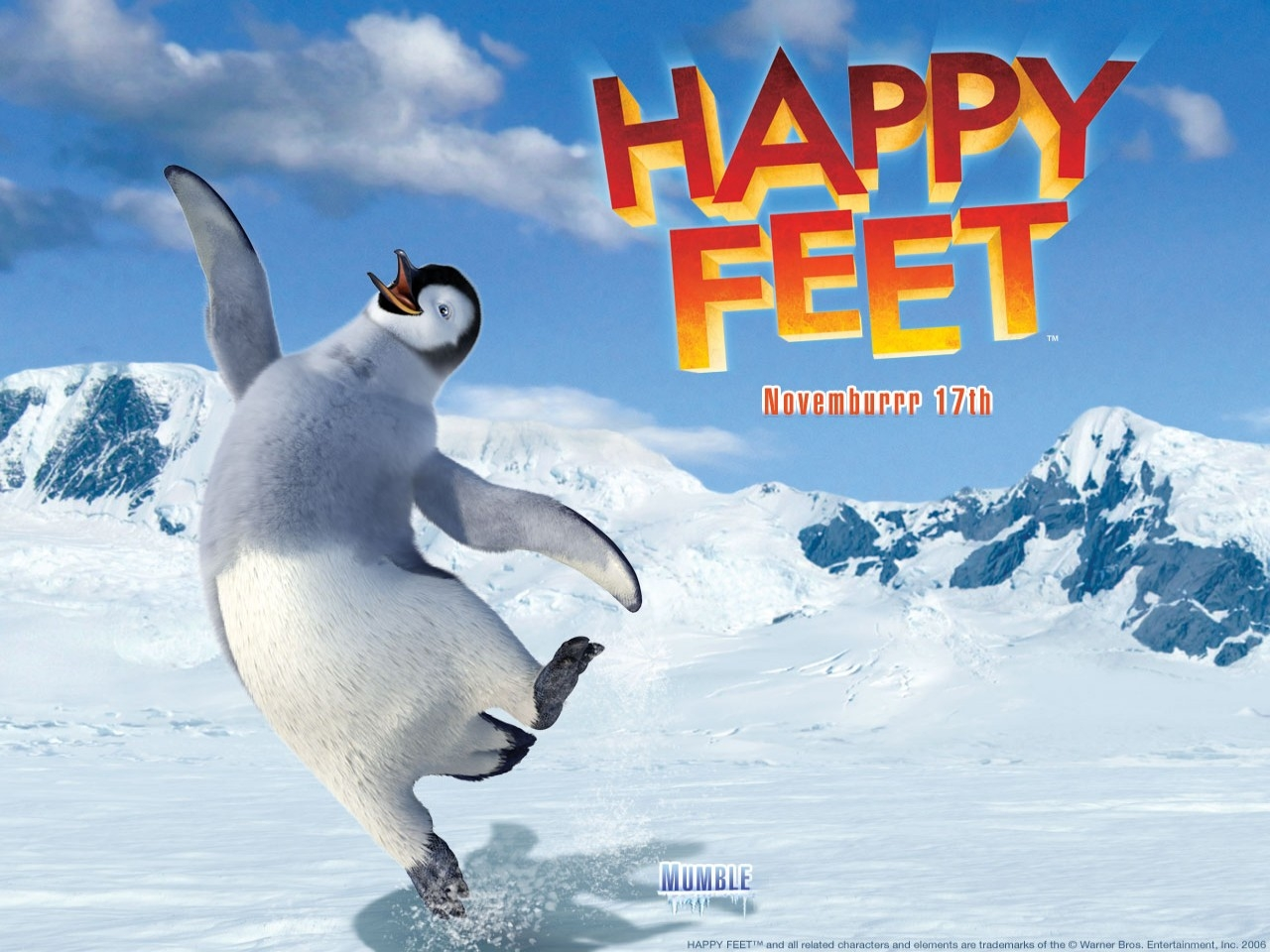 Wallpaper del cartoon Happy Feet diretto da G. Miller nel 2007