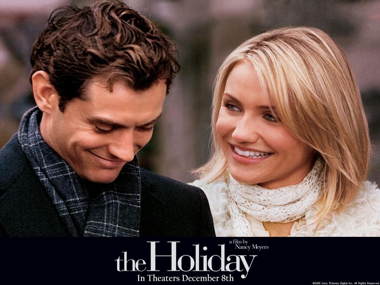 Cameron Diaz e Jude Law in un wallpaper della commedia L'amore non va in vacanza