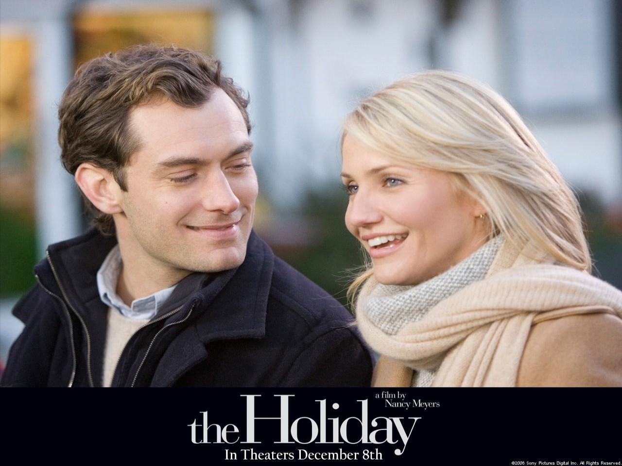 Cameron Diaz e Jude Law in un wallpaper del film L'amore non va in vacanza