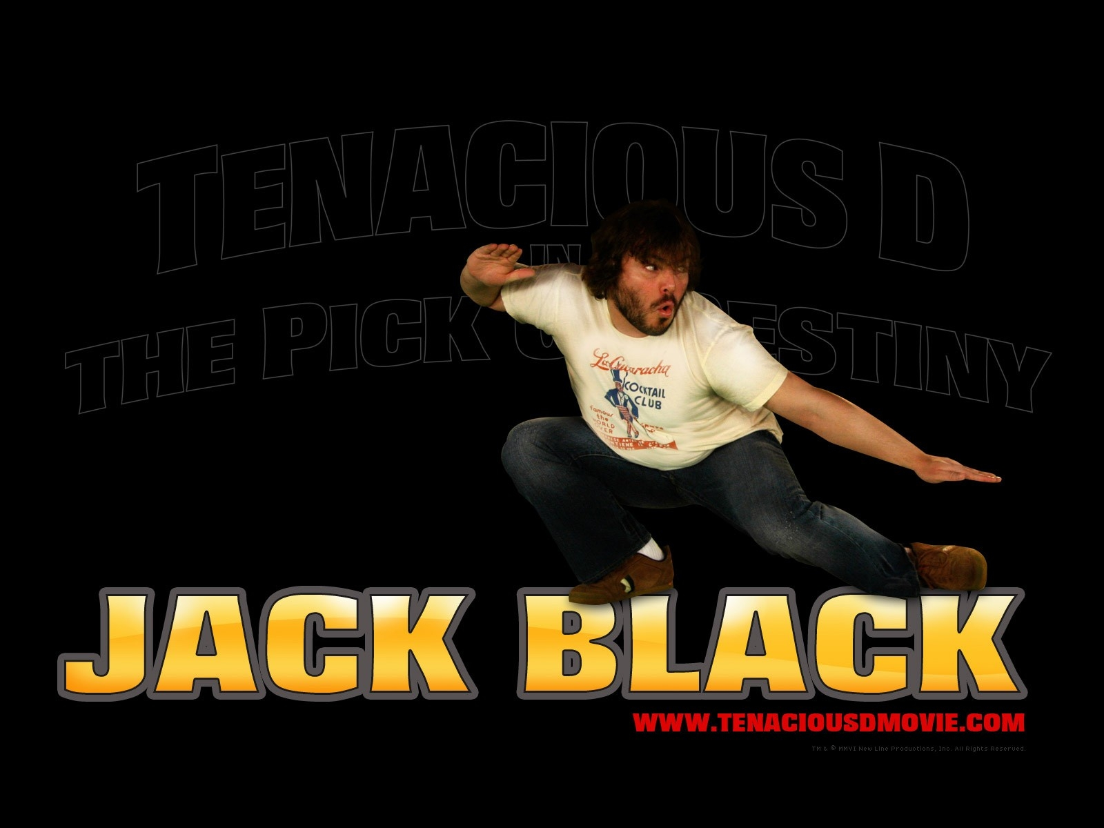 Jack Black in un wallpaper del film Tenacious D e il destino del rock