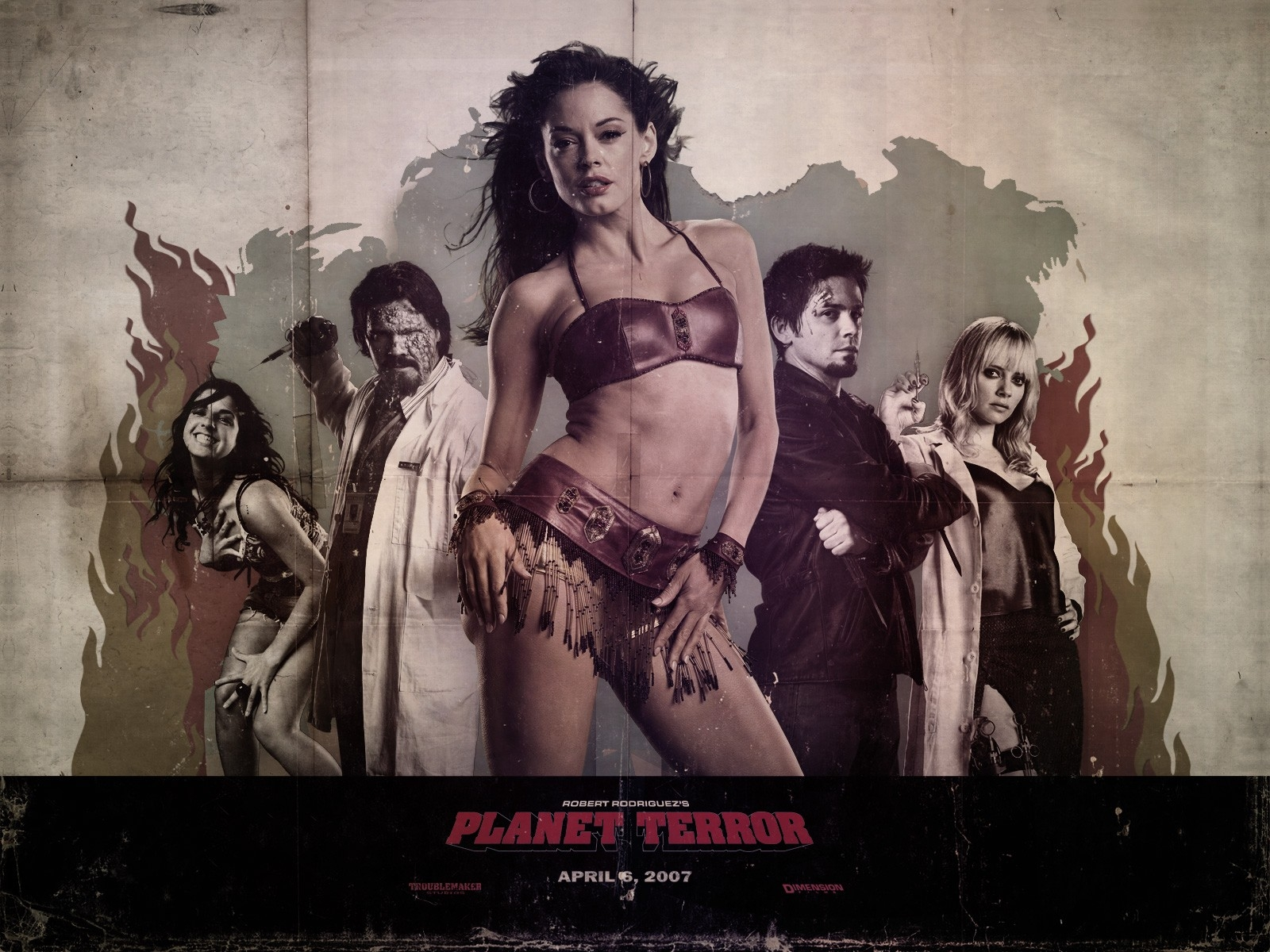 Un sexy wallpaper del film Grindhouse con Rose McGowan