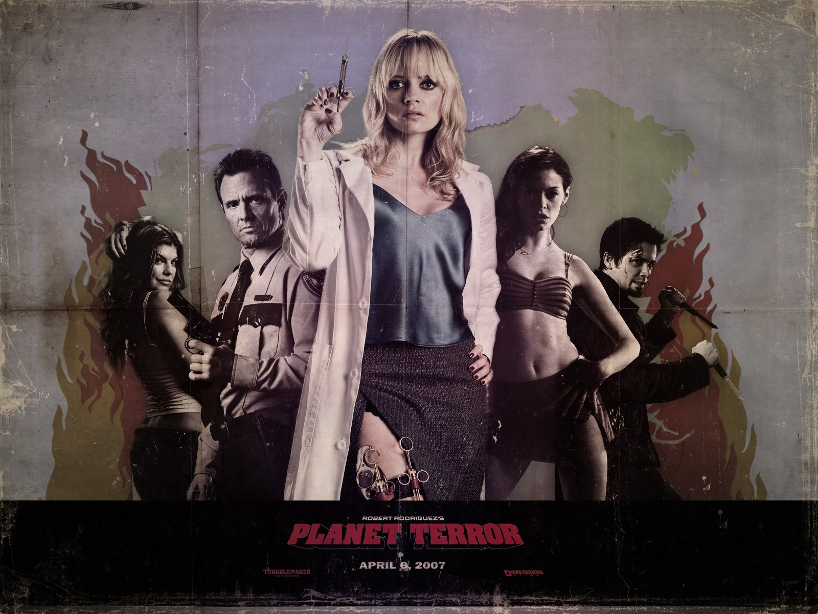Wallpaper del film Grindhouse con l'infermiera Marley Shelton