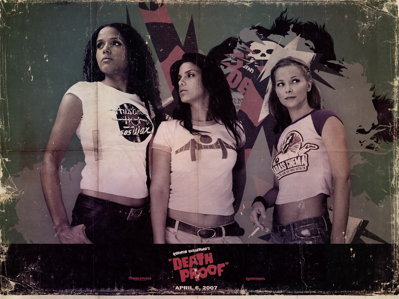 Wallpaper del film Grindhouse con le sexy protagoniste dell'episodio Death Proof