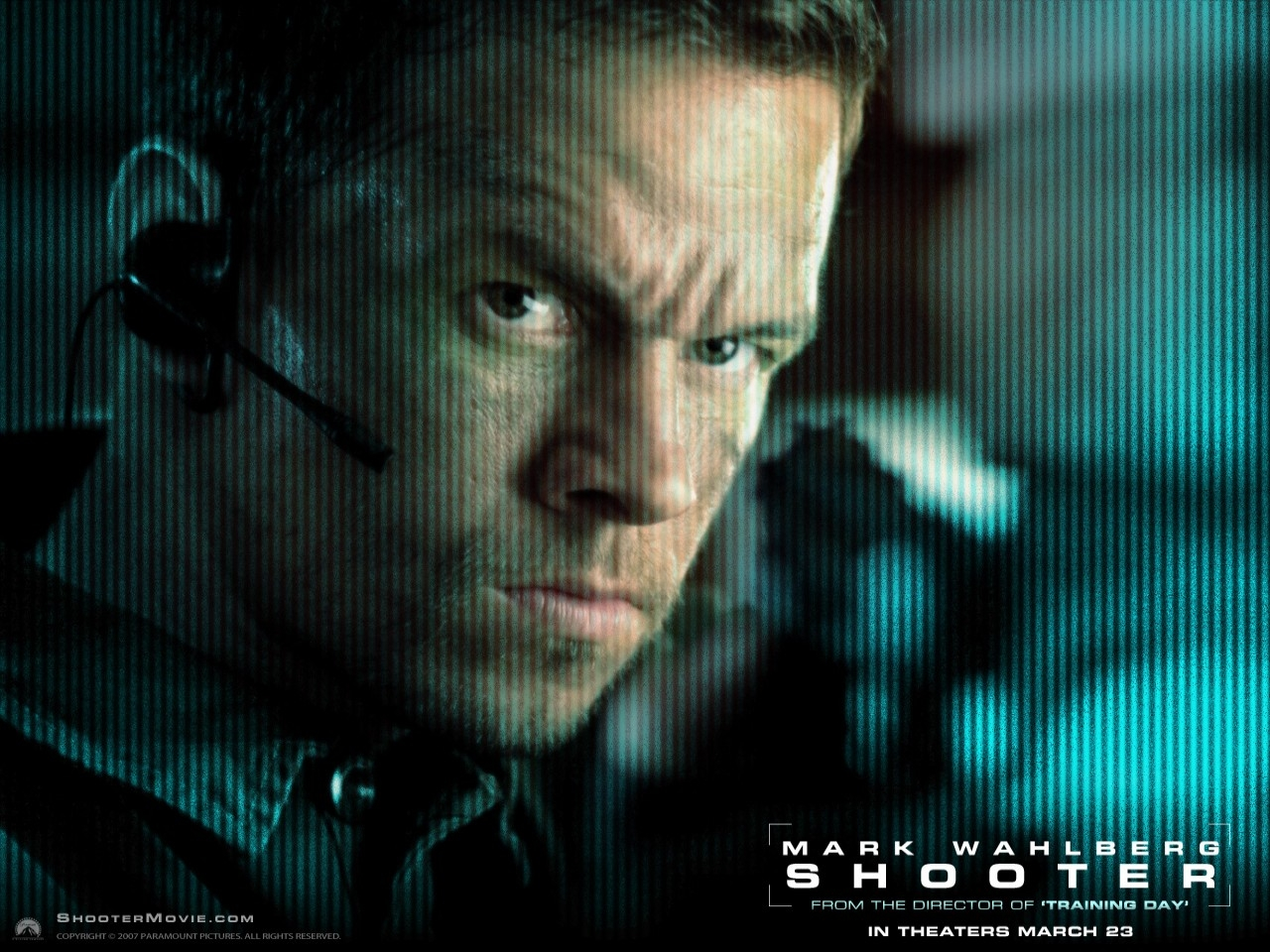 Primo piano di Mark Wahlberg in un wallpaper del film Shooter