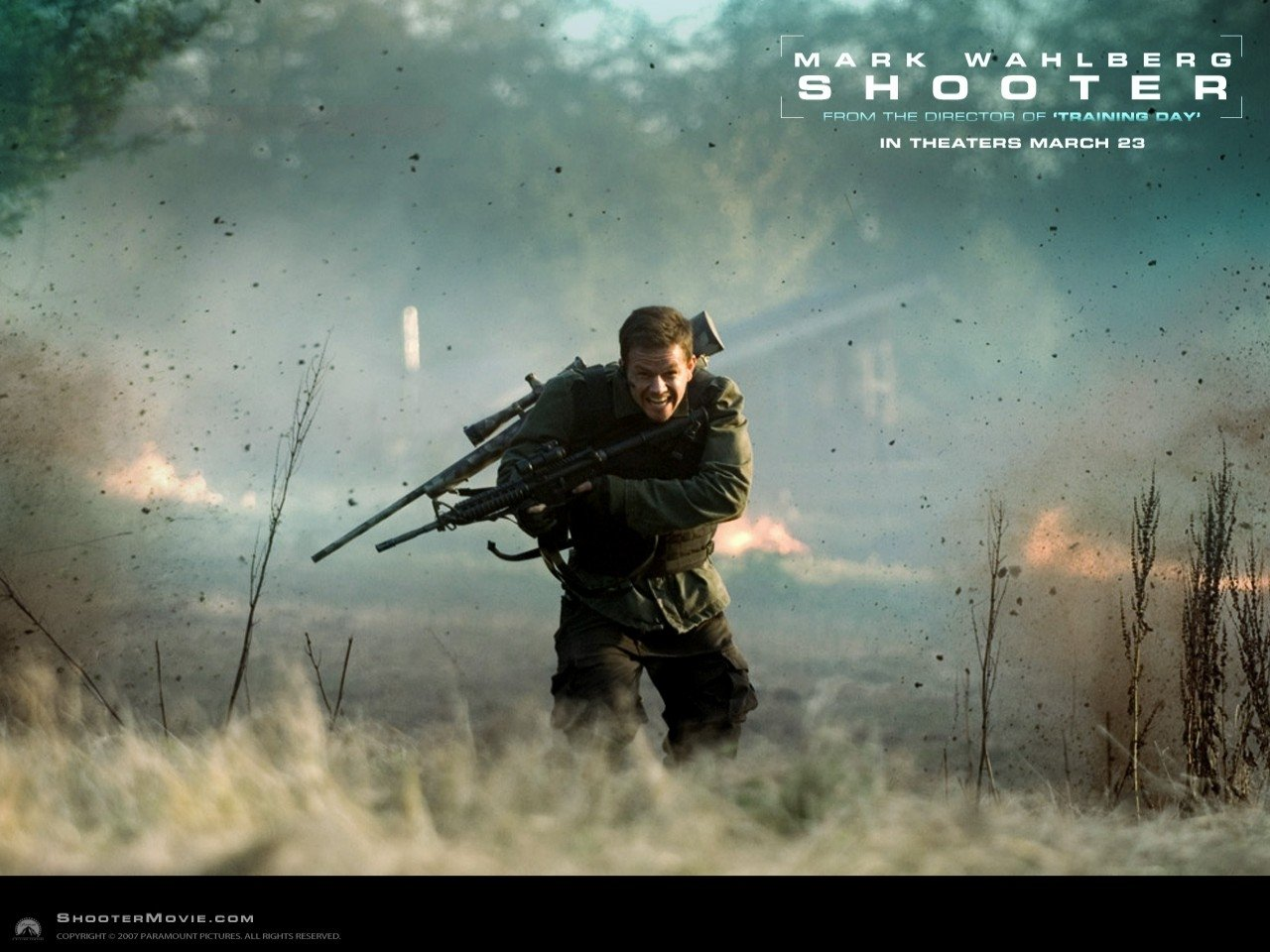 Wallpaper di una scena d'azione del film Shooter