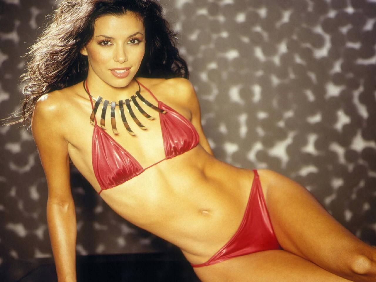 Wallpaper di Eva Longoria Parker in bikini rosso fuoco