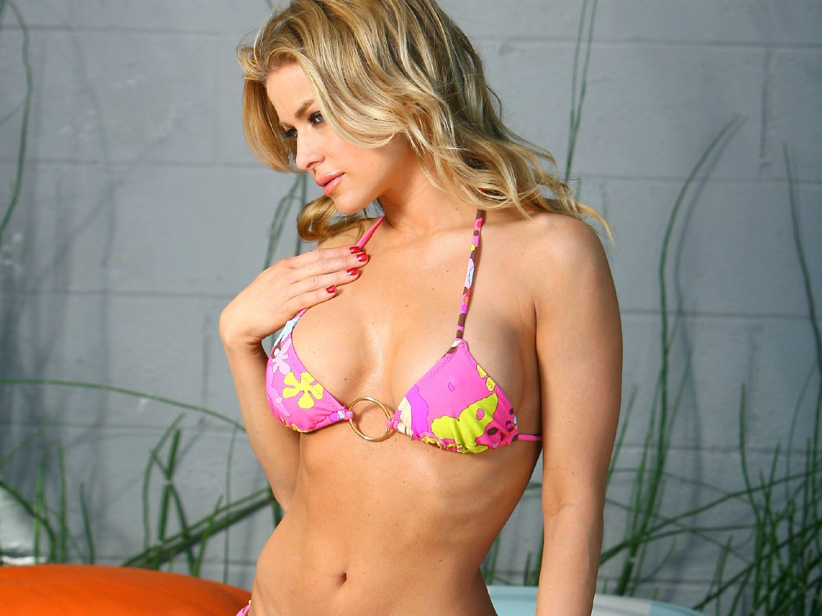 Wallpaper di Carmen Electra in bikini rosa shocking