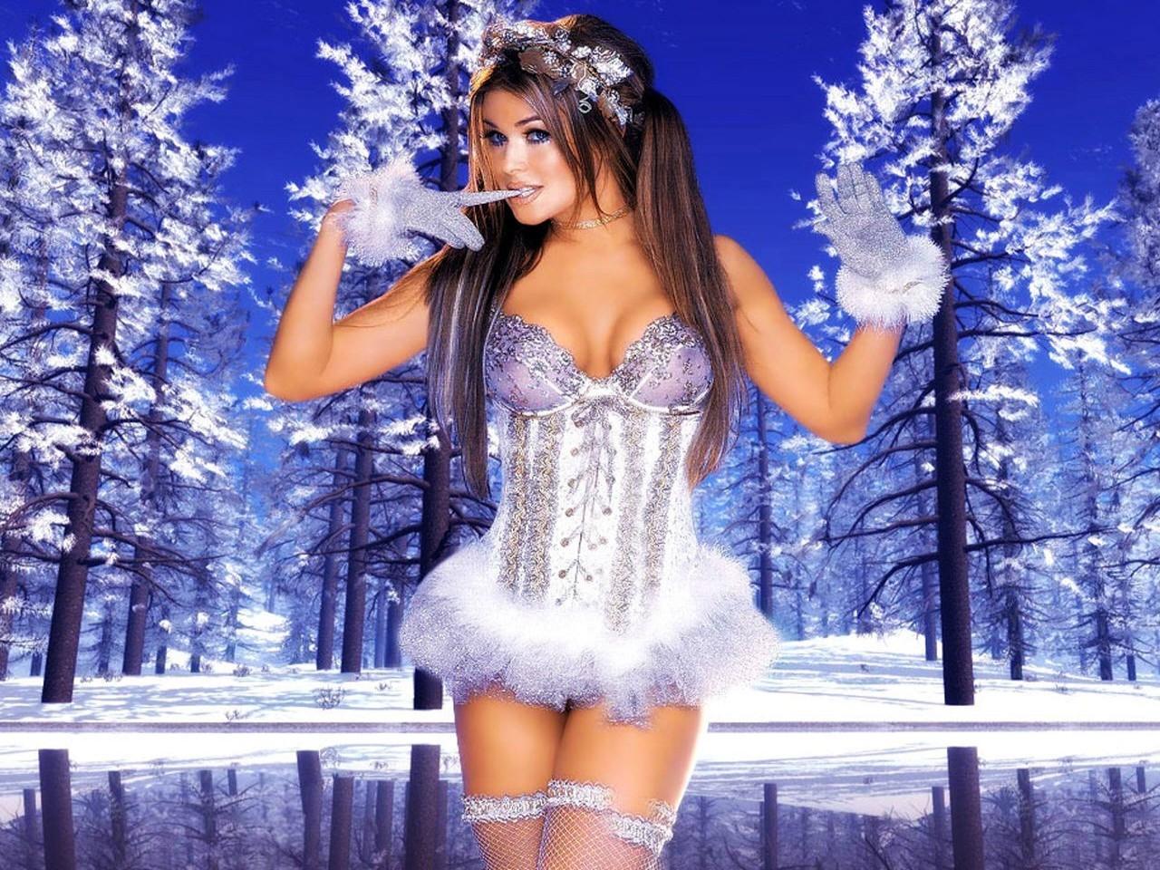Wallpaper di Carmen Electra in lingerie 'natalizia'