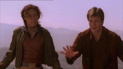 Nathan Fillion e Gina Torres  in una scena di Firefly, episodio L'affare del treno