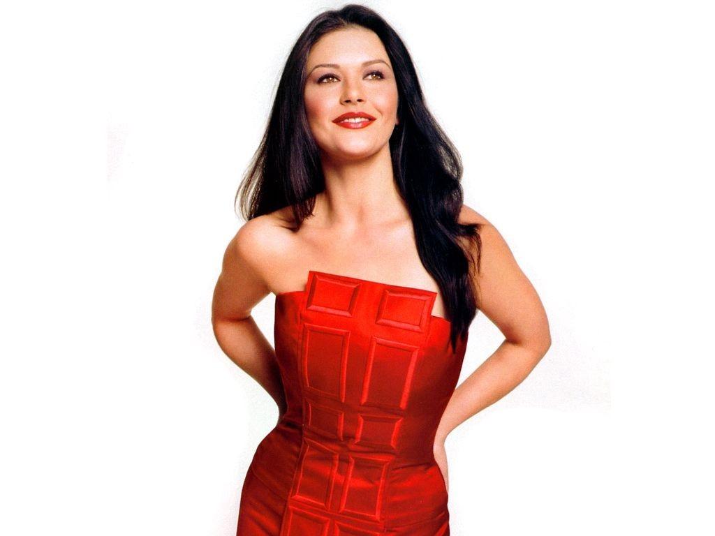 Wallpaper di Catherine Zeta-Jones fasciata in un abito rosso