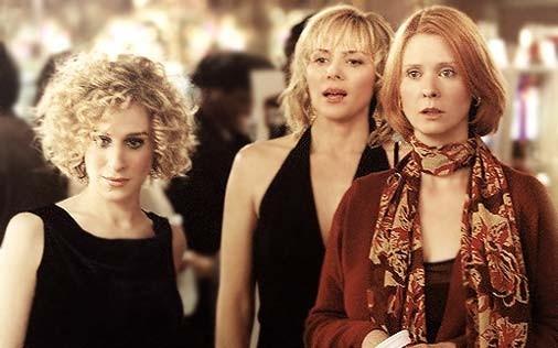 Sarah Jessica Parker, Cynthia Nixon e Kim Cattrall in una scena di Sex and the City, episodio Punto sul trentasei