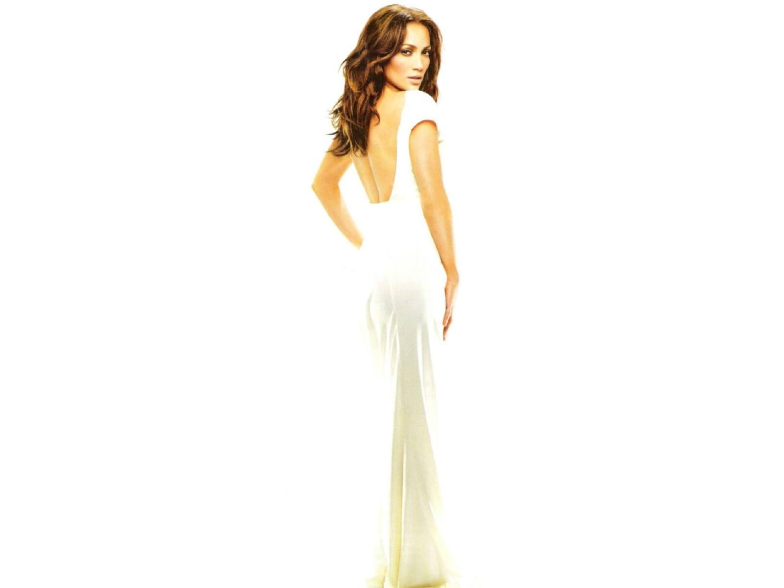 Wallpaper di Jennifer Lopez, elegante in bianco assoluto