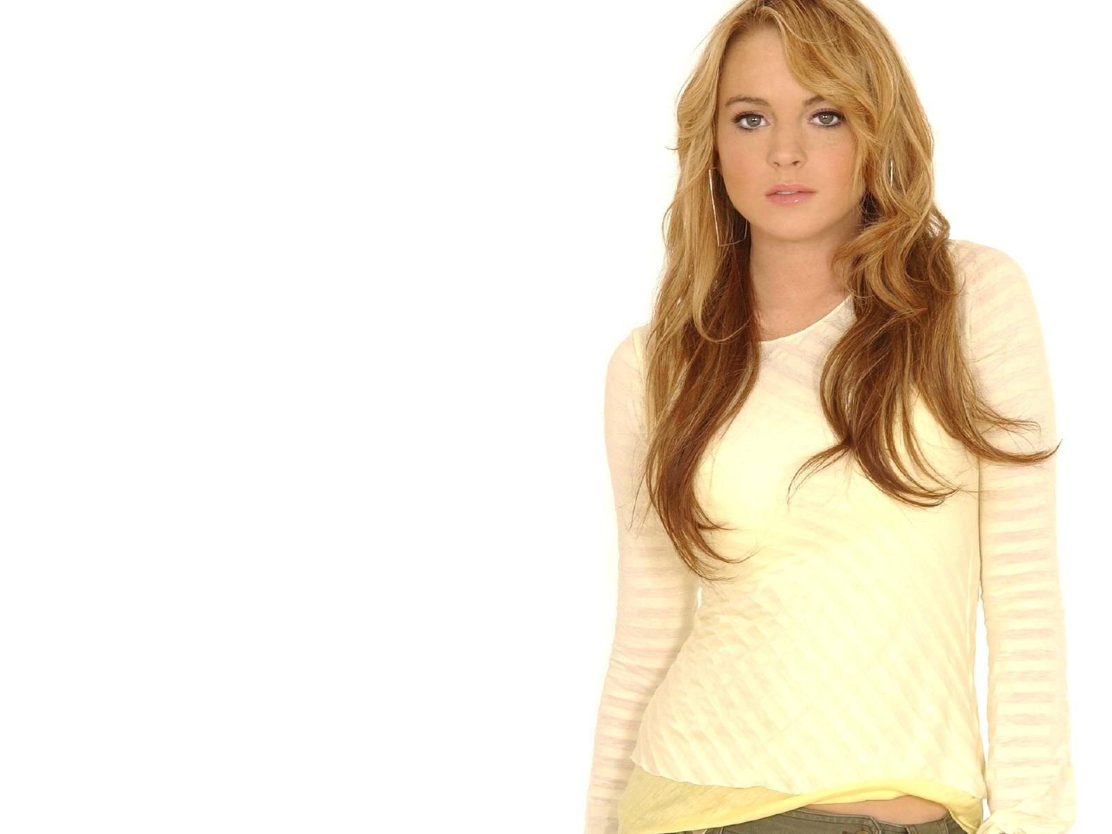 Wallpaper di Lindsay Lohan su sfondo bianco