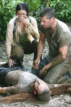 Evangeline Lilly con Matthew Fox e Dominic Monaghan nell'episodio 'Inseguimento' di Lost