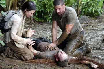 Evangeline Lilly. Matthew Fox e Dominic Monaghan nell'episodio di Lost dal titolo 'Inseguimento'