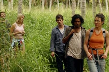 Evangeline Lilly, Naveen Andrews, Ian Somerhalder e Maggie Grace nel Pilot di Lost