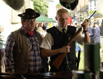 Gli attori Nick Frost e Simon Pegg in Hot Fuzz