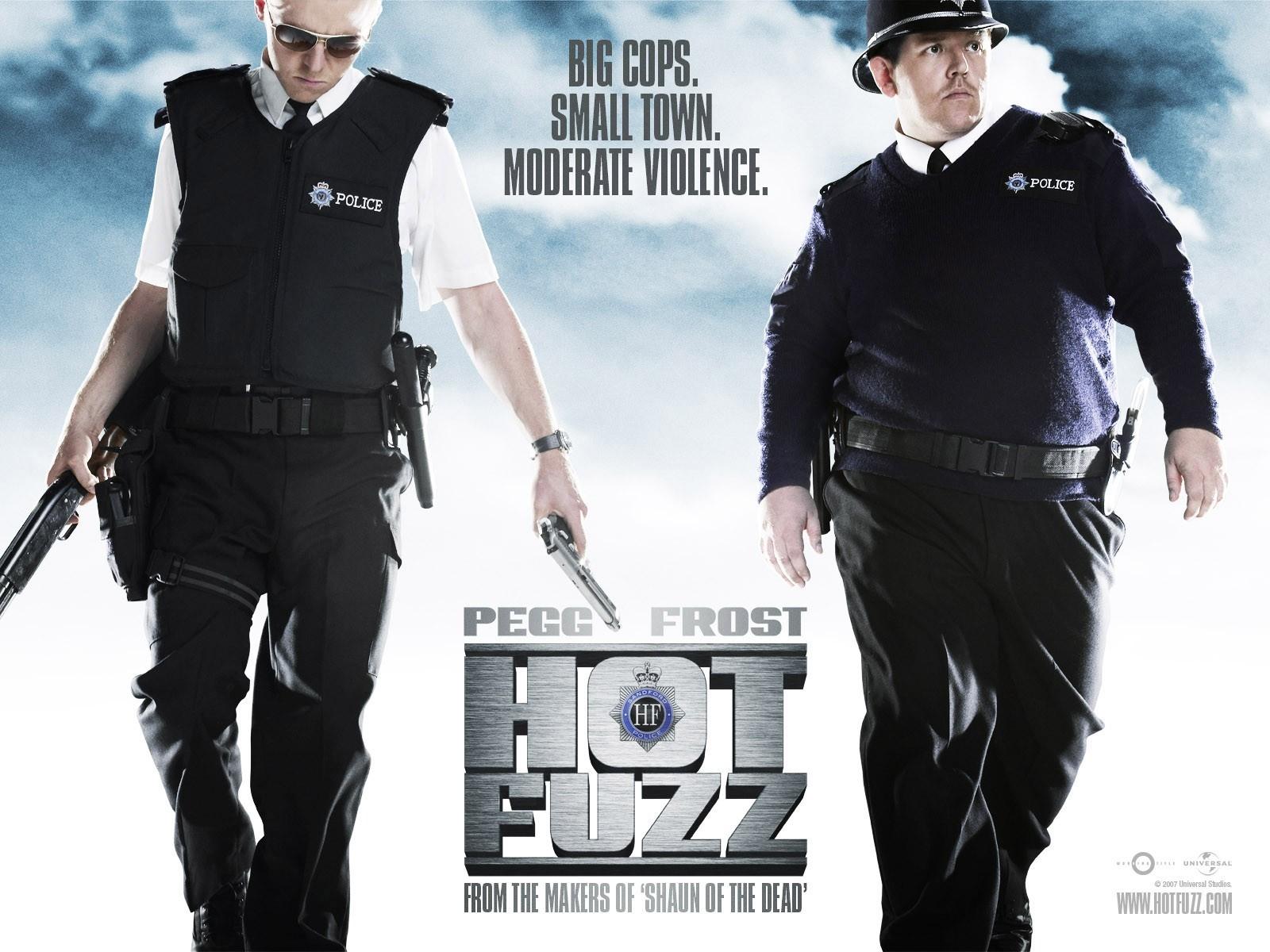 Wallpaper del film Hot Fuzz con Simon Pegg e Nick Frost