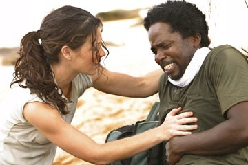 Harold Perrineau ed Evangeline Lilly nell'episodio 'In fuga' di Lost