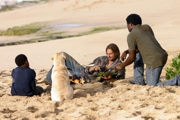 Josh Holloway, Harold Perrineau e Malcolm David Kelley nell'episodio 'Non nuovere' di Lost
