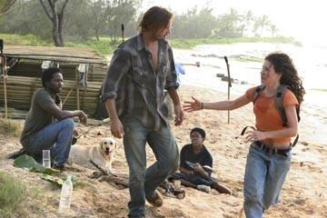 Josh Holloway, Harold Perrineau, Malcolm David Kelley ed Evangeline Lilly nell'episodio 'Non nuovere' di Lost
