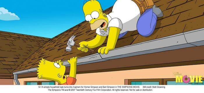 Bart e Homer in una scena de I Simpson - il film