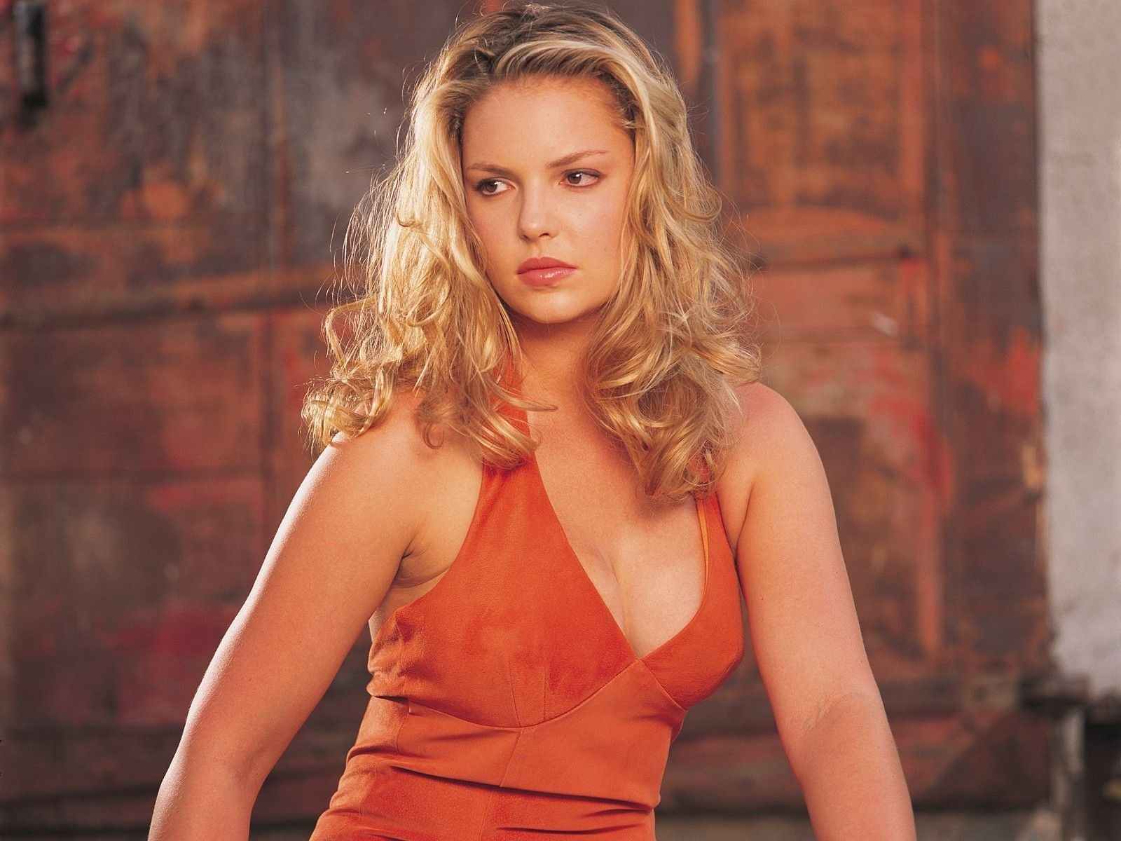 Wallpaper di Katherine Heigl in abito arancio