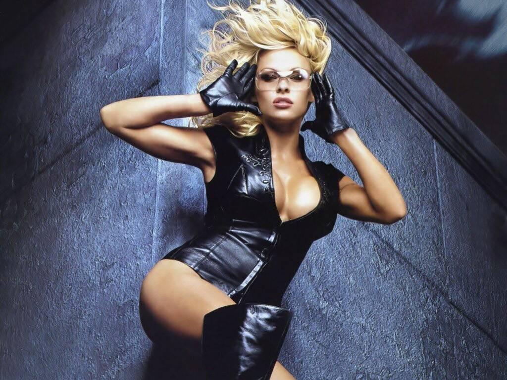 Wallpaper di Pamela Anderson fasciata in un abito di pelle