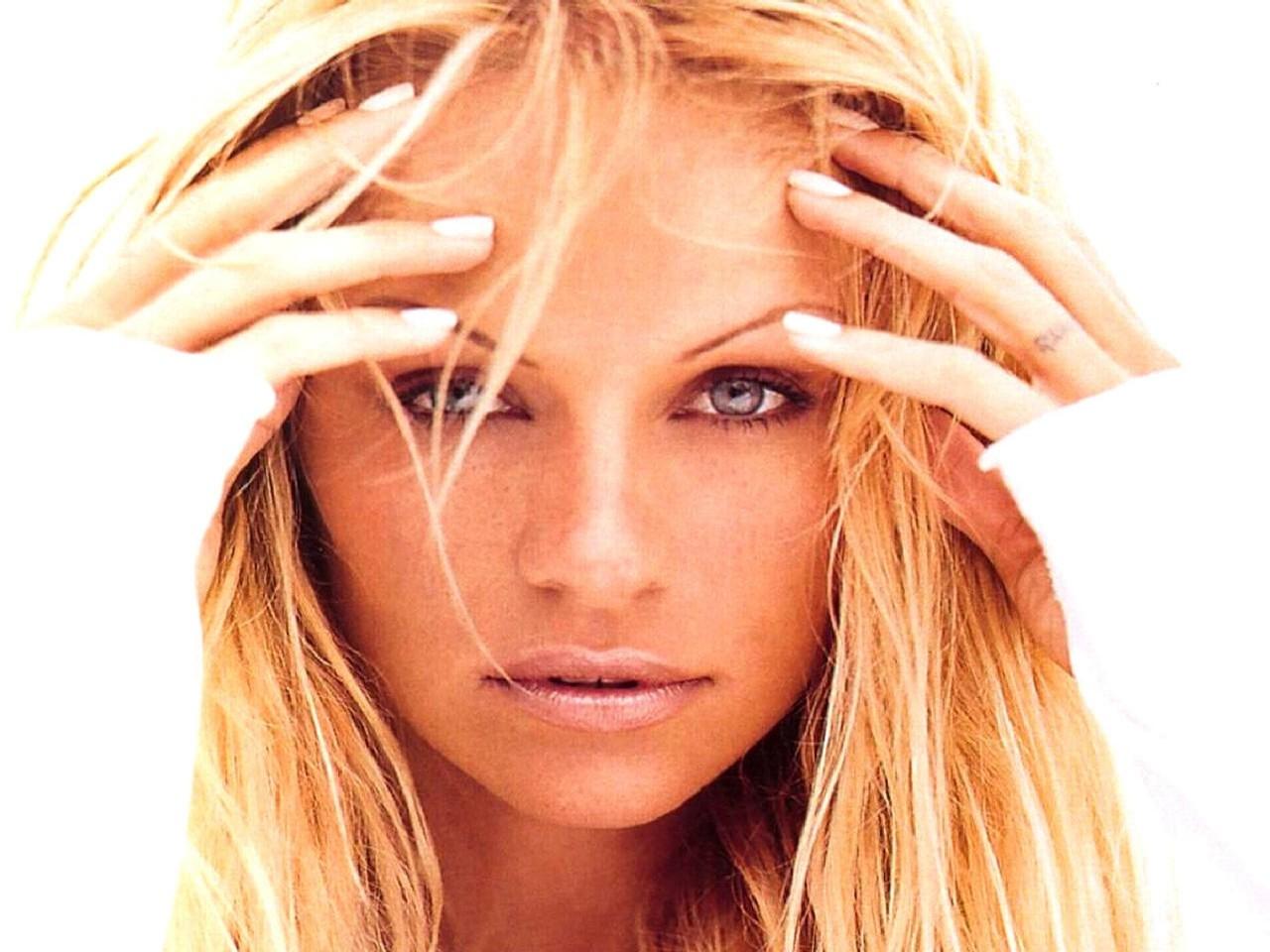 Wallpaper con un primo piano di Pamela Anderson