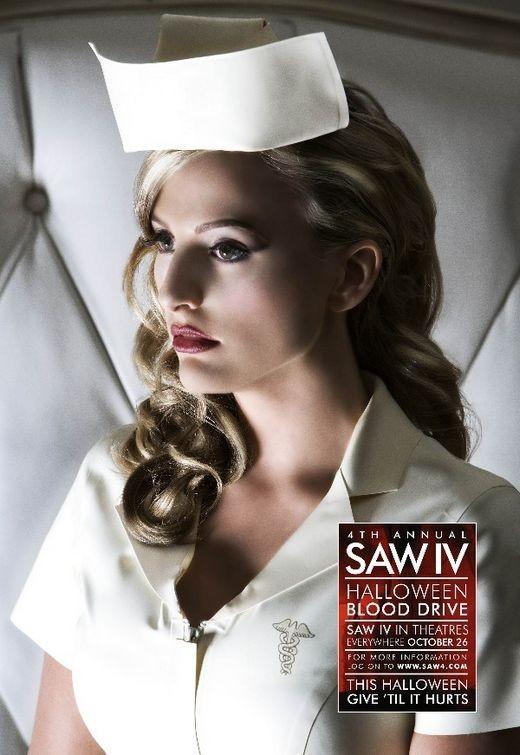 Una locandina di Saw 4 realizzata per il consueto 'blood drive' di beneficenza, ovvero donazioni di sangue collegate al lancio del film