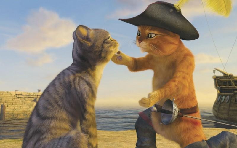 Il gatto con gli stivali in una scena del film Shrek Terzo