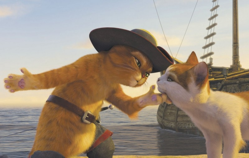 Il gatto con gli stivali in una sequenza del film Shrek Terzo
