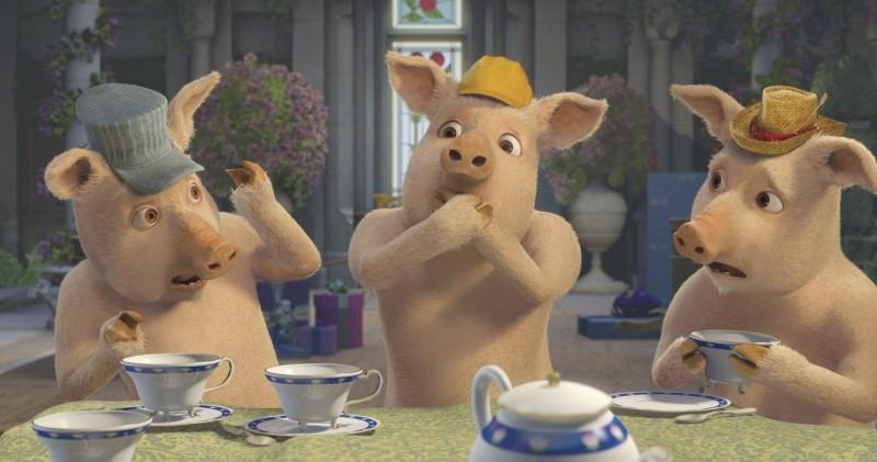 I tre porcellini in un'immagine del film Shrek Terzo