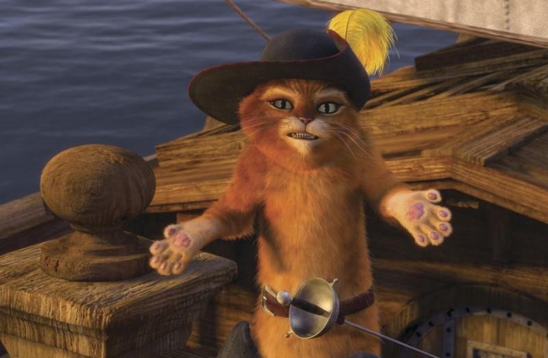 Una scena del film Shrek Terzo, con il gatto dagli stivali