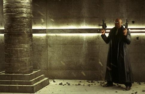 Laurence Fishburne in una sequenza di MATRIX REVOLUTIONS