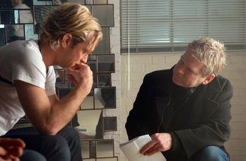 Jude Law e Kenneth Branagh sul set di Sleuth