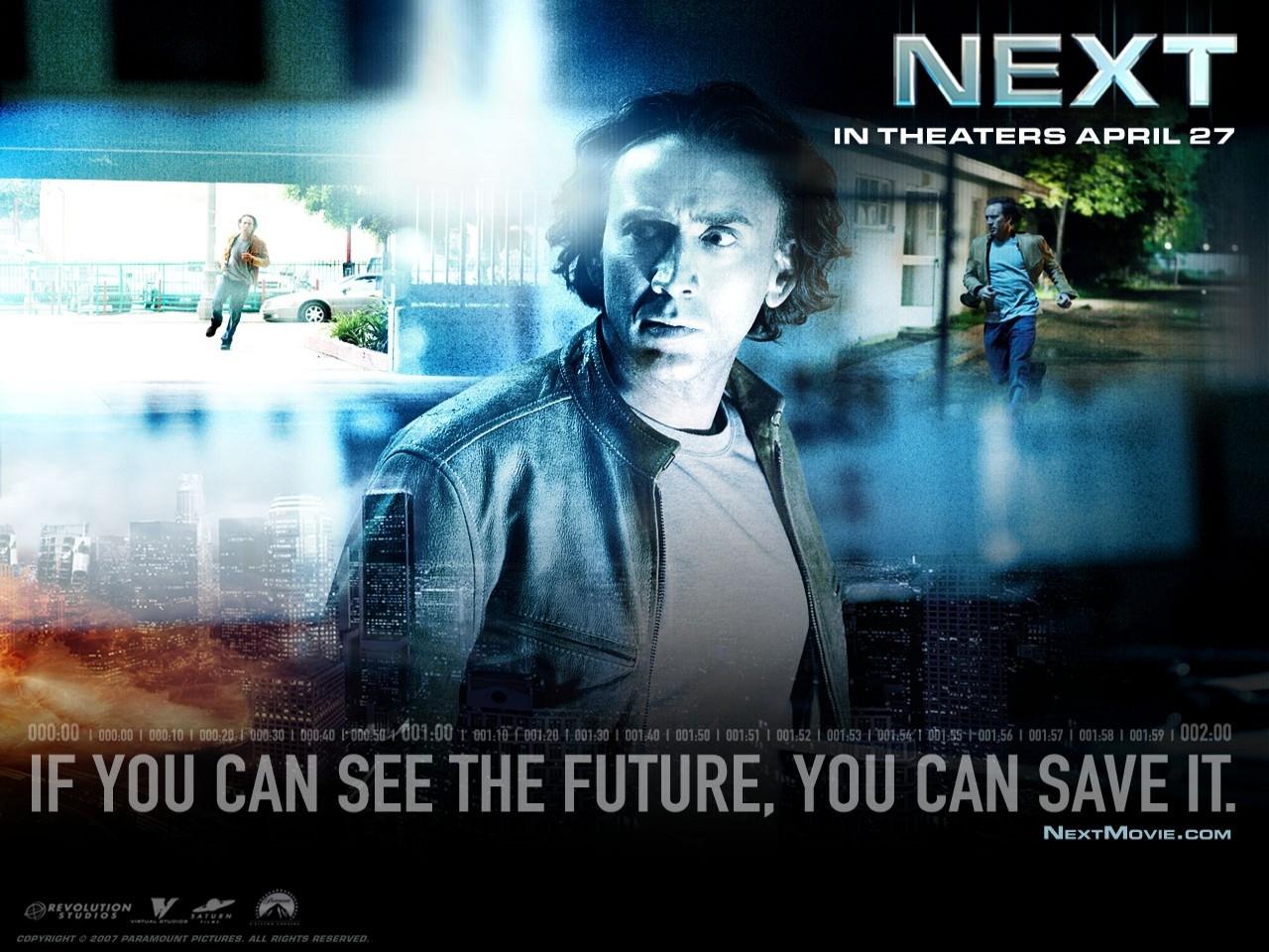 Nicolas Cage in un desktop wallpaper del film Next