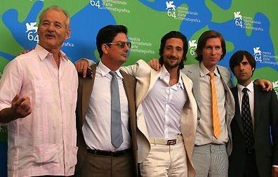 Il cast di The Darjeeling Limited a Venezia 64.: con Wes Anderson ci sono Bill Murray, Adrien Brody e Jason Schwartzman